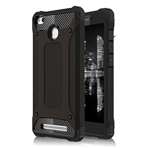 Funda Híbrida para Xiaomi Redmi 3s | Silicona | en Negro | Protección360 grados