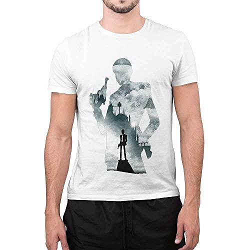 maglia lupin CHEMAGLIETTE! T-Shirt Divertente Uomo Maglietta con Stampa Simpatica Lupin Shadow Bianco
