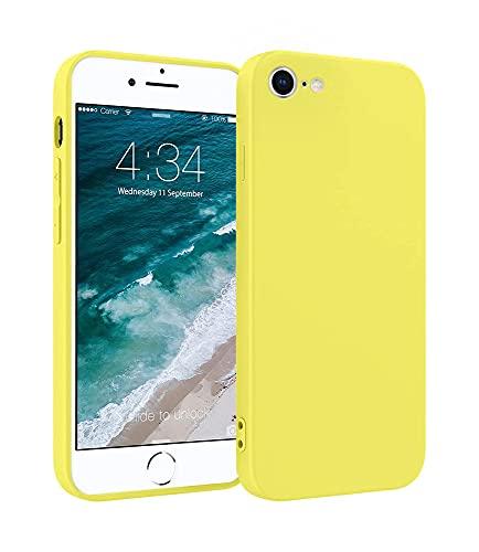 ICOVERI Funda de Silicona Compatible con iPhone 7/8/SE 2020 Amarillo. Carcasa Compatible con Accesorios Magsafe y Cargador Inalambrico. Tacto Suave, Microfibra Interior.