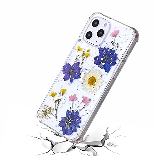 CCwin Compatible with iPhone 12 Case for Women,Clear Soft Silicone with Handmade Pressed Real Dried Floral,Glitter Cute Girls Shockproof Phone Cover for iPhone 12 Pro Case Flower (Purple)
