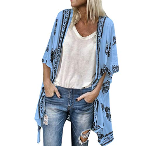 Andouy Kimono Stil Gedruckt Sonnencreme Shirt Jacke Cardigan Boho Beachwear Badeanzug Cover-Up Strickjacke Oberteile(XL(46).Blau)