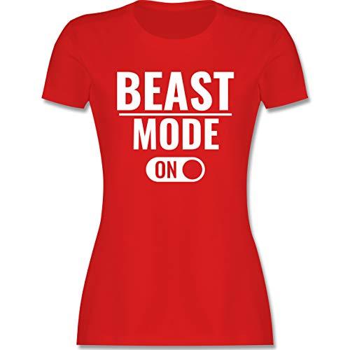 Fitness & Workout - Beast Mode ON - M - Rot - Fitness Mode Damen - L191 - Tailliertes Tshirt für Damen und Frauen T-Shirt
