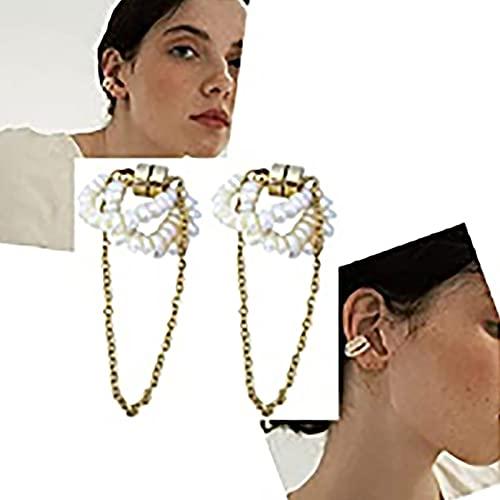 HHKX100822 Clip De Hueso De Oreja MagnéTico De Perlas De Agua Dulce Naturales, Pendientes para Mujer, GeometríA De Clip Sin Orificio para La Oreja A
