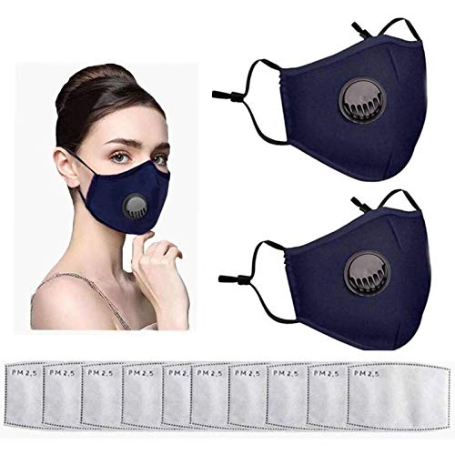 2 packs of outdoor face protection and 10 pieces of filter, unisex with Valve & Filters ,can prevent dust and pollen,pollution