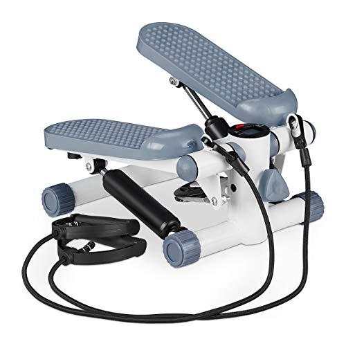 Relaxdays Stepper, Mini Step con 2 Corde Elastiche & Conta Passi, Attrezzi...