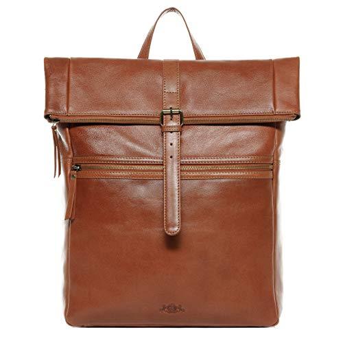 SID & VAIN Mochila Levi Zip Backpack portátil para portátil de 15,6' Bolso de Hombro Piel marrón