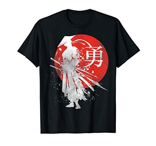 Japanische Samurai Krieger Retro Japan Kalligraphie für Mut T-Shirt