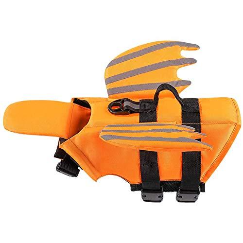 Chaleco salvavidas ajustable para perros perro salvavidas preservador con rayas reflectantes mango para natación playa barco naranja