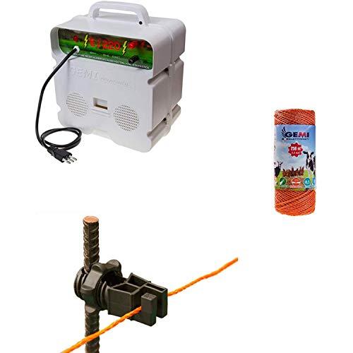 Recinto elettrico Kit completo con 1 x Elettrificatore 220V + 1 x Filo 250 MT 2 Mm² + 100 pezzi isolatori per paletti in ferro - Recinzione Elettrificata per animali pecore galline mucche maiali volpi