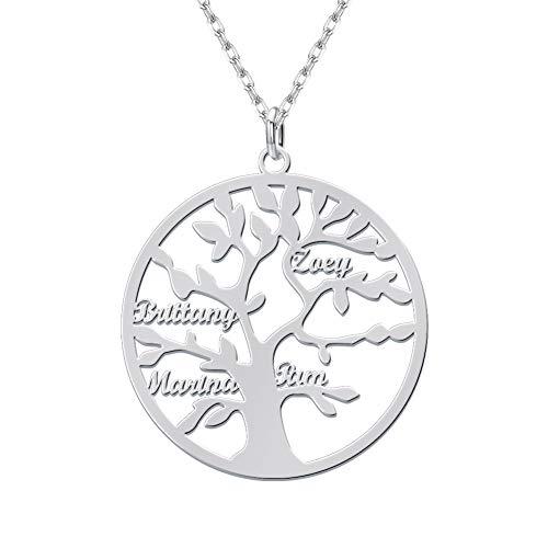 Dreamdecor Personalisierte Namenskette Lebensbaum Kette mit Gravur Kreis Stammbaum Anhänger Silber Schmuck Geschenke für Damen Mädchen Mutter