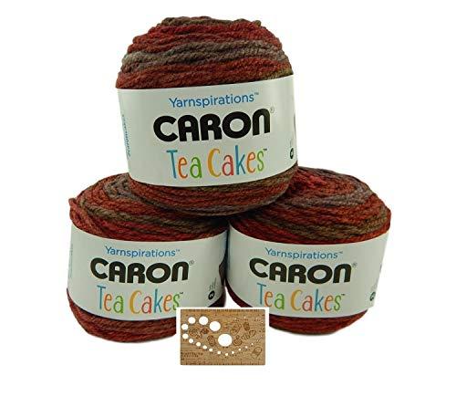 Caron Tea Cakes Acrylic-Wool Blend Yarn Super Bulky #6 8.5 oz.204 yds 3-Pack w Bamboo Knitting Gauge (Pumpkin Chai)