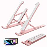 Adjustable Portable Laptop Stand,ABS ErgonomicLaptop Holder,Great Ventilation for MacBook,Air,Pro and Book,Light and Sturdy Riser,Eye Level to Alleviate Back and Neck Pain (P1-Pink Laptop Stand ABS)