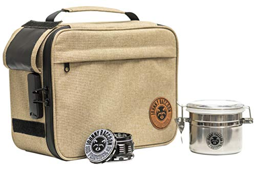 """Johnny Racoon Extra Large Smell Proof Bag with Combination Lock   Carbon Lined Odor Locking Storage   Set Includes Built-in Rolling Tray, Smell Proof Stash Jar and 2.5"""" 4-Piece Herb Grinder."""