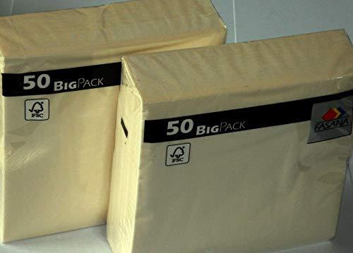 Servilletas FASANA de 100 piezas - Servilletas de papel de 3 capas color beige claro - crema - Código de color: crema de mantequilla 359 - Servilleta 1/4-veces Tamaño: 33x33 cm 13x13 pulgadas