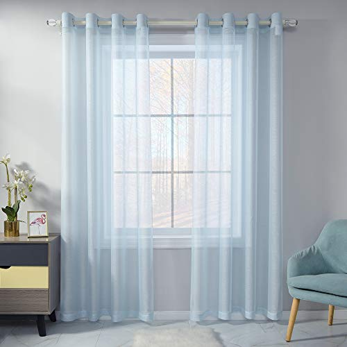 Baby Blue Sheer Curtains 84 Inch Length Set 2 Panels For Bedroom Faux Linen Sheer Drapes Solid Luxury Grommet Light Blue Textured Sheer Curtains For Living Room Basement Windows 52 X84 Inches Long