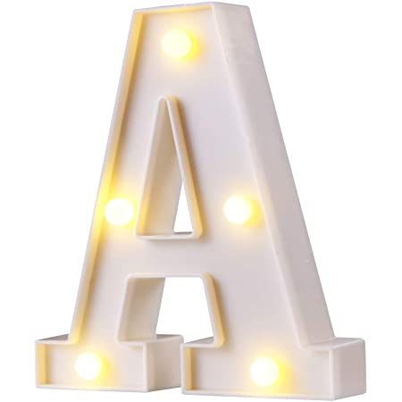 Arrow Nesee Party Home Decor LED Letter Alphabet Standing or Hanging Lights Light Up White Plastic Letters Could