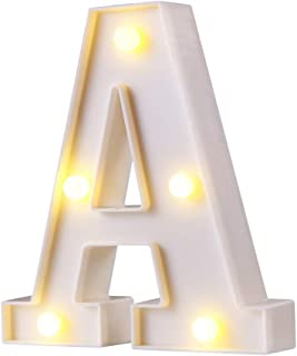 LED Marquee Letter Lights, 26 lphabet Light Up Letters Sign Perfect for Night Light Wedding Birthday Party Home Bar Decoration Christmas Lamp(White,A)