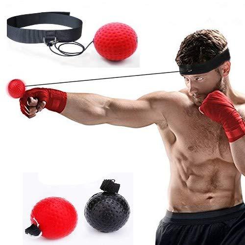fine-toned FT Reflex-Bälle, 2 Box-Bälle mit Stirnband, 2 Ebenen, schwarzer Ball (23 g) für Anfänger. Rot (85 g) für erfahrene Schnelligkeit, Reflexe, Timing – Plus kostenlose Box-Fußarbeitstabelle !