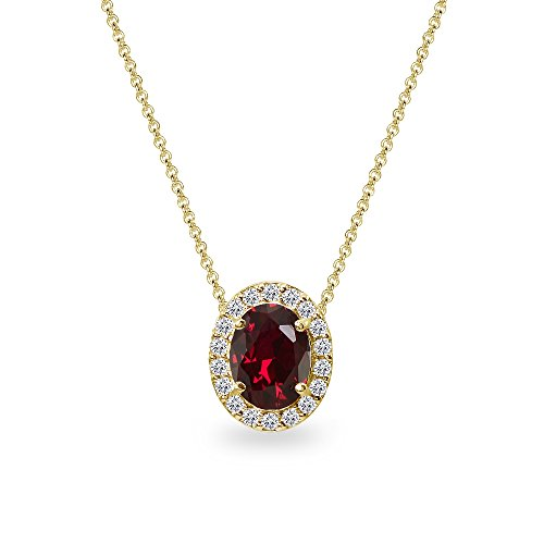 Yellow Gold Flashed Sterling Silver Synthetic Ruby Oval Halo Slide Pendant Necklace with CZ Accents
