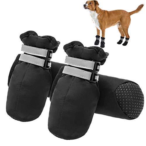 Botas de perro antideslizantes – zapatos de perro duraderos suela suave protector de pata con correas reflectantes para interior y exterior…
