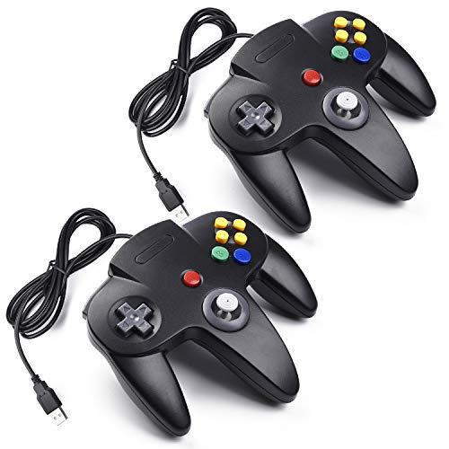 miadore 2X N64 Controller USB Gamepad Classic N 64 Controller Joypad Joystick Für Mac und Windows Raspberry pi3,Schwarz