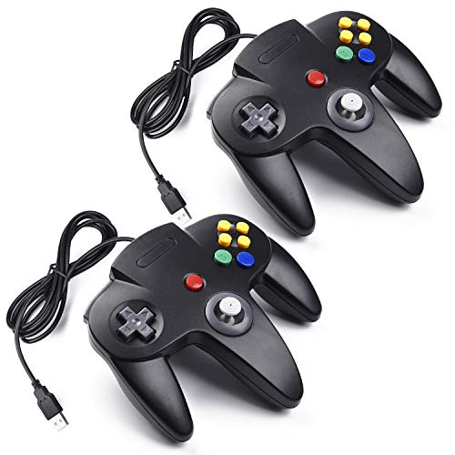 miadore 2X USB N64 Control Gamepad Joystic Mando de Juegos para PC Mac Windows (Noir x2)