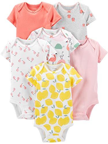 Simple Joys by Carter's 6-Pack Short-Sleeve Bodysuit Camisa, Rosa, Flamenco/Estampado de limón, 3-6 Meses, Pack de 6