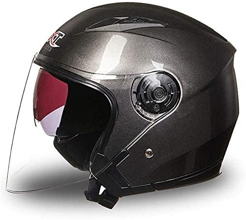 LAMZH Casco de motocicleta portátil para hombre y mujer, medio cubierto, retro, cuatro estaciones, doble lente, gris oscuro, grande, protección