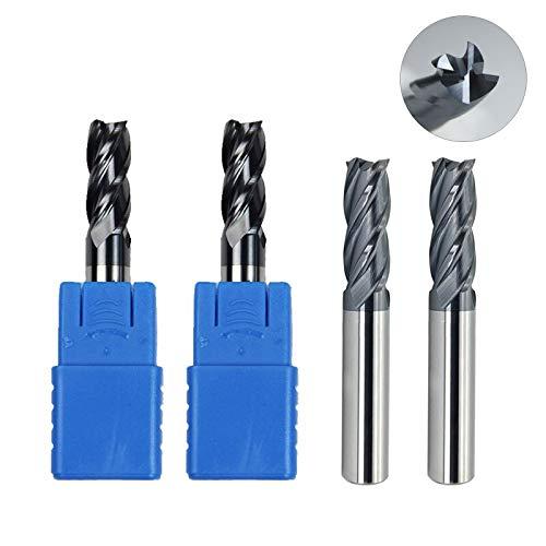 CENYAFAN HRC45 1-8mm Molino de extremo plano de carburo sólido CNC Fresado CNC Bits 4Flutes CNC Router Bits Herramientas para corte de metal Accesorios de hardware Herramientas de bricolaje