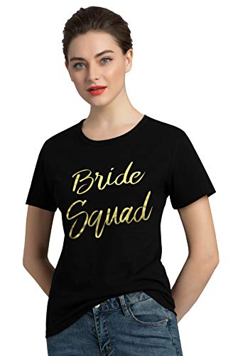 PINJIA Womens Cotton Wedding Bride Bachelorette Party Tshirts Top Tees Gift (M,Gold Black Bride Squad)