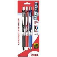 3-Pack Pentel 0.7 Millimeter Metal Tip EnerGel RTX Gel Ink Pens