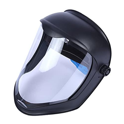SM SunniMix Casco de Soldadura Protector Facial con Lente Transparente de Policarbonato, Ligero, Protección Completa, Anti-Impacto/UV, Adapta Gafas, 30x27cm - Máscara doble diadema