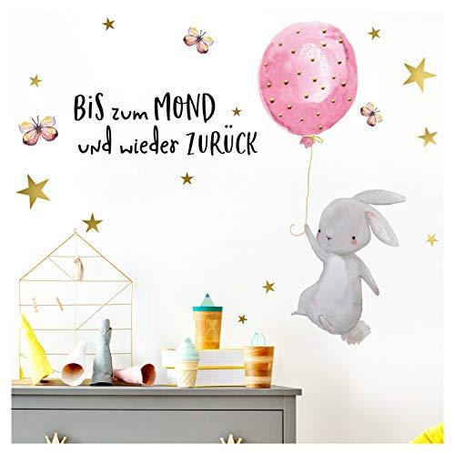 Little Deco Wandtattoo Babyzimmer Hase & Spruch Bis zum Mond Sterne I Wandbild 89 x 62 cm (BxH) I Luftballon Rosa Wanddeko für Kinderzimmer Mädchen Aufkleber DL227-12
