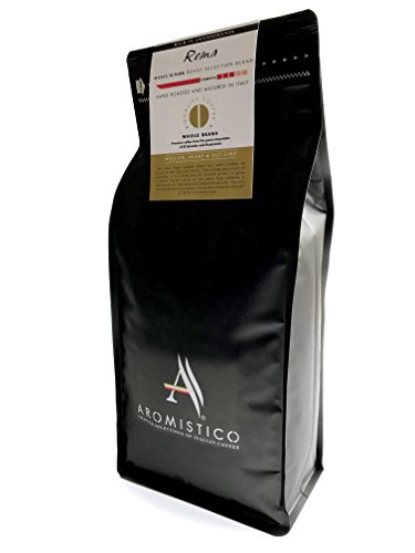 AROMISTICO | Finest Medium Roast | 1Kg Italienische Premium-geröstete ganze KAFFEEBOHNEN | ROMA | For Pour Over Drip, Espresso, Moka, Cafetiere, Aeropress | DARK, MELLOW, SHARP & NUT-Like (1Kg)