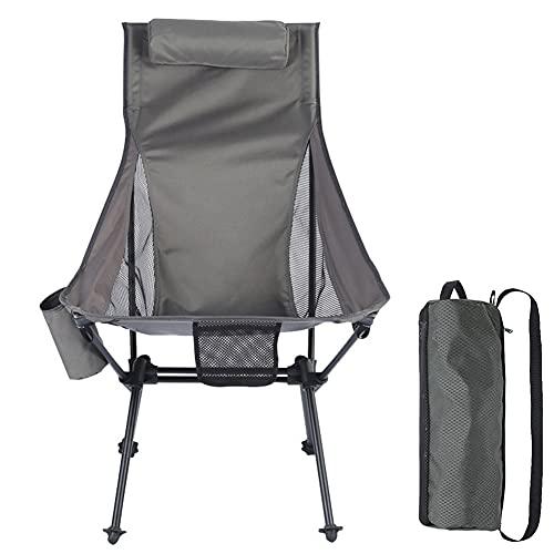 MXXQQ Sillas de Camping Ligeras, sillas al Aire Libre con reposabrazos y Taller, Silla de Camping Plegable de jardín con Almohada, Estructura Estable, Capacidad 150 kg,Gris
