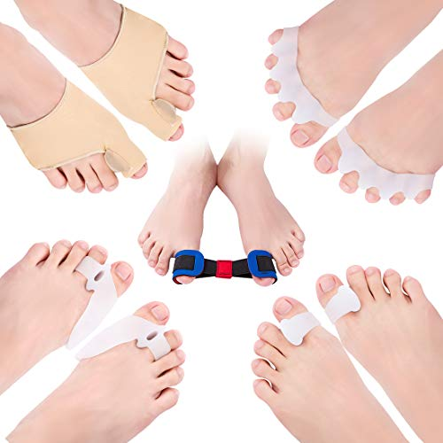 Bunion Corrector Toe Separators, peinat 9PCS Bunion Protector and Bunion Relief Kit for Women/Men Gel Toe Spacers Straighteners for Big Toe, Hammer Toe, Overlapping Toes, Yoga Crooked Toes