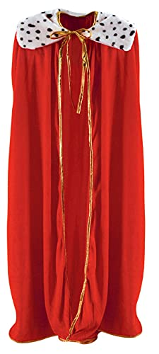 Beistle Adult Size Red King/Queen Robe Mardi Gras Cape Costume Accessories, 54″, multicolor