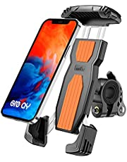 Grefay Bike Mobile Phone Holder, Anti-Hook Quick Release Stainless Steel Motorcycle Bicycle Universal Mobile Phone Holder with 360 Twists for 4.7-6.9 Inch Smartphone