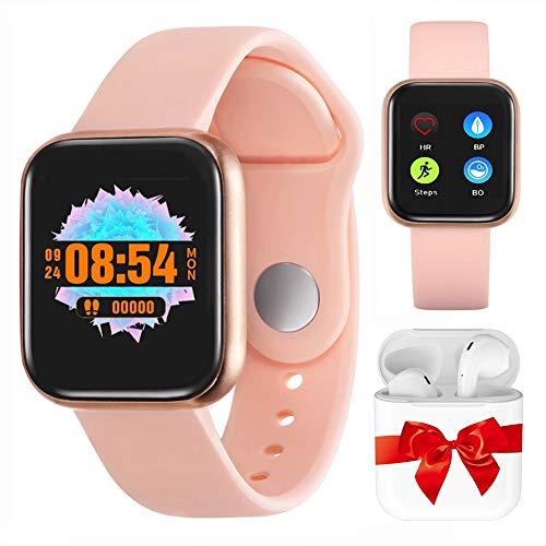Smartwatch Uomo Donna Orologio Fitness, Activity Tracker Cardiofrequenzimetro da Polso Calorie Contapassi Bluetooth Impermeabile Schermo a Colori per Android IOS (Rosa)