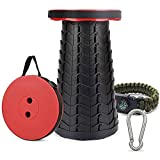 Camping Stool Retractable,GEYUEYA Home Folding Stool Telescoping Collapsible Seat Max Load 400 lb with <span class='highlight'>Accessories</span> Sturdy Compact Adjustable for Indoor Outdoor Use Garden Fishing Hiking Travel BBQ