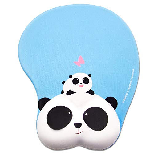 Cute Cartoon Panda Pad-EXCO Cute Panda Computer Mouse Pad Wrist Support Ergonomic Mouse Pad with Comfortable Gel Wrist Support,Non-Slip PU Base for Computer