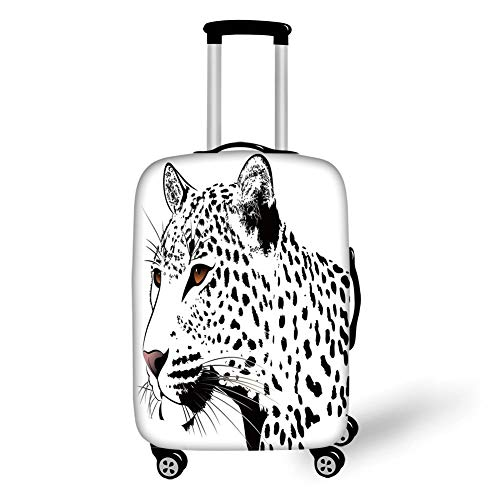 Travel Luggage Cover Suitcase Protector,Tattoo Decor,The Head of Magnificent Rare White Tiger with Ocean Blue Eyes Image,White Black and Blue,for Travel