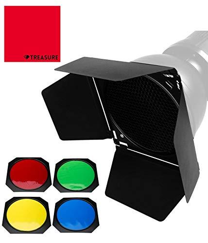 [国内正規代理店] Godox BD-04 バーンドアとハニカムグリッドと4色ジェルフィルター(レッド、イエロー、ブルー、グリーン)標準リフレクターに対応 [クロス付/セット品] (BD-04)