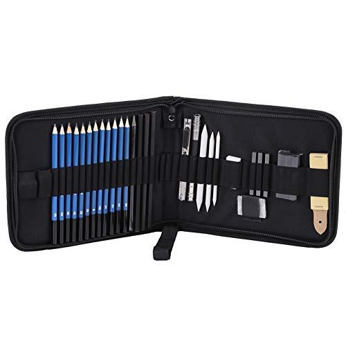 Croquis Crayon, Delaman H & BSketching Crayons À Dessin Et Croquis Set Kit Avec Gommes Charbon Bâton Sharpener, 33pcs