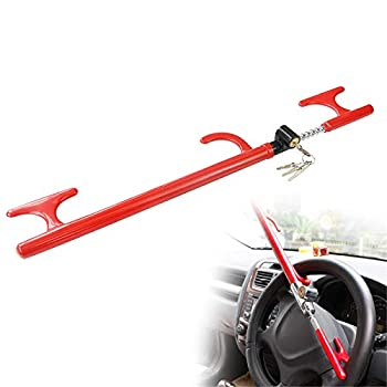 OKLEAD Anti-Theft Steering Wheel Lock Handbrake Lock Adjustable Twin Hooks Lock Security for Truck Car SUV Tractor Golf Cart