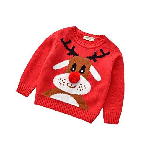 Kids Toddler Baby Girl Boy Christmas Sweater Cotton Knit Crewneck Pullover Sweatshirt Tops Warm Fall Winter Clothes (B-Red Christmas Sweater Cartoon Deer,2-3T)