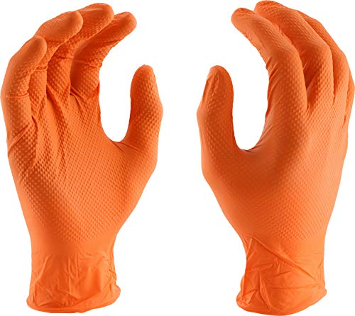 West Chester PosiGrip 2940 7 MIL Industrial Grade Nitrile Gloves – [Pack of 90] Orange, XX-Large, Powder-Free Gloves with Diamond Embossed Textured Palm