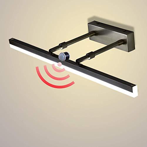 Tocador LED con luz de espejo con sensor de movimiento, lámpara de maquillaje moderna con interruptor de longitud escalable 19 – 27 cm 240 ° giratorio impermeable para interiores de metal, 43 cm / 9 W