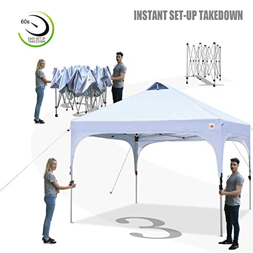 ABCCANOPY Canopy Tent 10x10 Pop Up Canopy Outdoor Canopies Super Comapct Canopy Portable Tent Popup Beach Canopy Shade Canopy Tent with Wheeled Carry Bag Bonus 4xWeight Bags,4xRopes&4xStakes, White