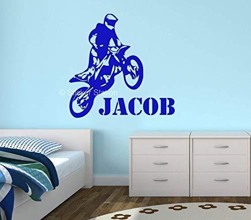 Moto de Motocross Niños Personalizado Nombre Mural Pegatina de Pared